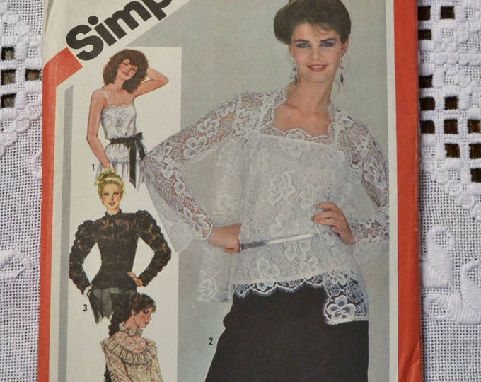 Simplicity 5324 Sewing Pattern Misses Camisole Jacket Blouse Size 10 DIY Vintage Clothing Fashion Sewing Crafts PanchosPorch