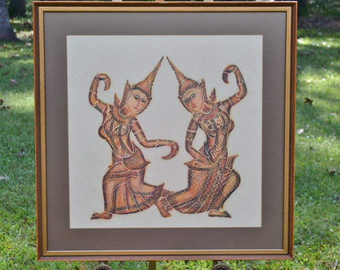 Vintage Thai Temple Rice Paper Rubbing Multicolored Framed Cambodian Asian Theme Wall Decor Panchosporch
