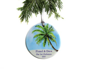 Our First Christmas Ornament, Couples Christmas Ornament, Beach Ornament Personalized, Unique Bridal Shower Gift, Destination Wedding Gift