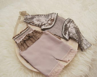 Newborn Girl Outfit, Newborn Romper, Newborn Photo Prop, Newborn Props, Baby Romper, Newborn Set, Tan, Baby Photo Outfit, Picture Prop, 025