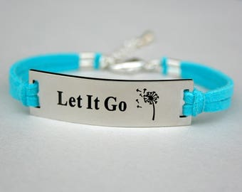 "Stainless Steel "" Let It Go "" Dandelion Image Bracelet, Faux Suede Leather Cord , Dandelion Jewelry, Charm Bracelet, Gift For Her, ST755"