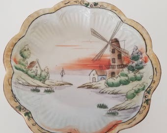 Antique Nippon Windmill Bowl with Waterscape, Sailboat, Shoreline. Hand Painted. Scallop Rim.