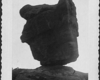 Vintage Photo of Balanced Rock at Garden of the Gods, 1950's Original Found Photo, Vernacular Photography
