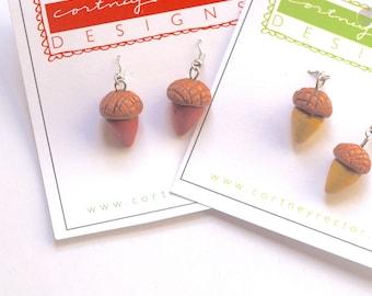 Acorn Drop Earrings for Fall from Polymer clay folk art