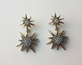 Starburst Earrings | Sunburst Earrings | Star Earrings| Gold Star Earrings |  Antique Gold Earrings