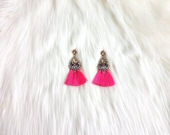 Pink Tassel Earrings - Tassel Earrings - Statement Earrings -Long Earrings - pink Earrings -