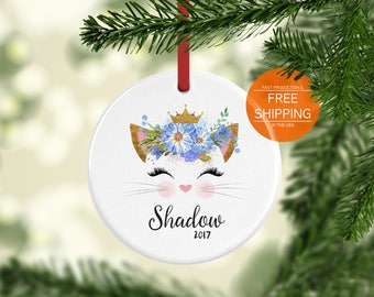 Cat ornament, personalized, Christmas tree decoration, feline gift, pet lover gift, home decor