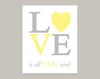 Nursery Printable Love Is All You Need Yellow Gray Nursery Wall Art Quote Girl Or Boy Nursery Decor Baby Shower Gift Instant Download