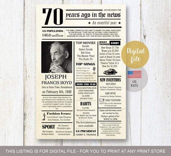 Fun Facts 1948 70th Birthday Poster Custom 70th Birthday