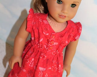 18 Inch Doll (like American Girl) Red Floral Flutter Sleeve Hi-Low Hem Woomera Dress