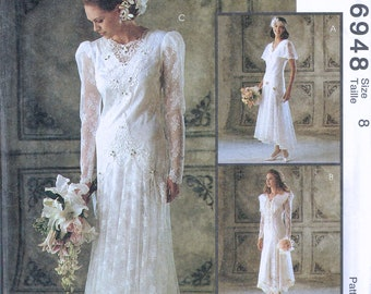 Size 8 Wedding Dress Sewing Pattern - Drop Waist Flapper Style Wedding Dress - Lace Retro Bridal Gown - Alicyn Exclusives - McCalls 6848