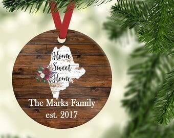 New Home Maine Christmas Ornament| Maine Ornament| Family Christmas Ornament| ME Home Ornament| Rustic Ornament| CO32_ME