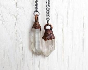 Crystal Necklace Herkimer Diamond Pendant Electroformed Copper Minimal Jewelry Quartz Rustic Pendant Oxidized Sterling Silver