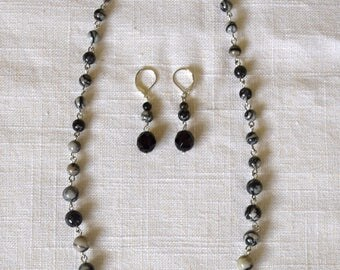 BLANCHE Necklace and Earring Set in Spiderweb Jasper