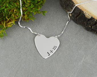 Custom Bar Necklace // Personalized Bar Necklace // Wedding or Anniversary Gift  // Heart Jewelry // New Mom Gift