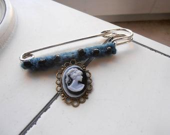 Blue Cameo Shawl Pin