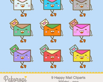 9 Happy Mail Cliparts