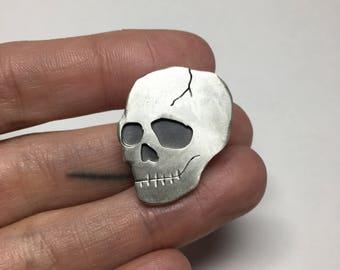 OOAK Sterling Skull Pin