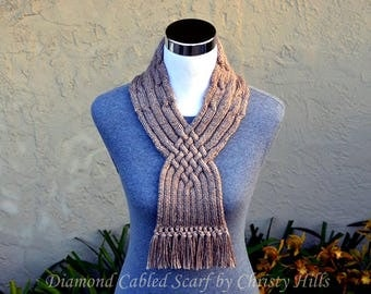 Knitting Pattern Only - Diamond Cabled Scarf
