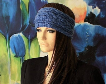 HEADBAND / Hairband Merino jeans blue