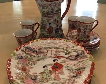 Japanese painted china set