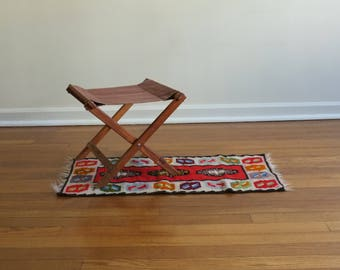 20% OFF SALE! vintage camping stool | vintage camping chair | vintage folding camping stool |wooden folding camp chair brown canvas seat
