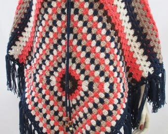 Hand Crafted Navy Coral Browns Mix Crochet Poncho Hippy Granny Square Festival NEW Free Size