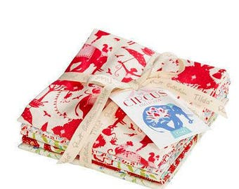 Ships From The USA! TILDA Fabric CIRCUS Collection Fat Quarter Bundle in Red (5fq's) Cut in my shop