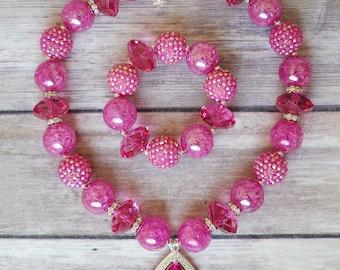 Hot Pink Bracelet, Bubblegum Bracelet, Chunky Rhinestone Bracelet, Birthday Outfit, Toddler Jewelry, Cake Smash, Princess Party, Party Favor