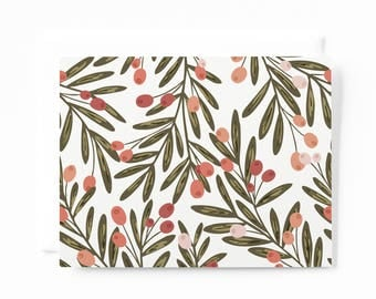 Stationery Notecard Set of 8 | Illustrated Floral Notecards with Blank Interiors and Botanical Pattern : Berry Grove Card Set