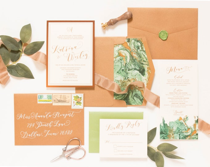 Shades of Green & Copper Marble, Rose Gold and Ivory Wedding Invitation — Includes Envelope Liner, RSVP and Address Printing.