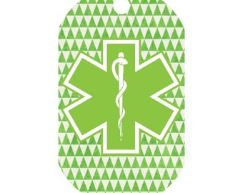 Custom Medical Alert Necklace in Green Geometric Triangles | Medic Tag | Medical Alert ID | Medical Alert Jewelry | Front and Back Included