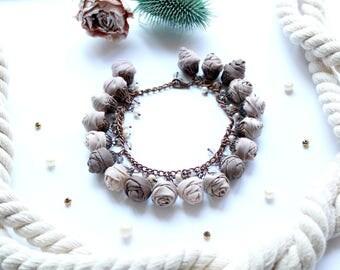 Fabric bracelet Rose bracelet Beige fabric jewelry Flower bracelet Floral jewelry Clusters bracelet Friendship bracelet Textile bracelet