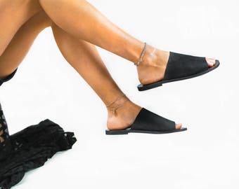 "Black leather sandals "" Girl boss "", women sandals, greek leather sandals, black sandals, flat ,slides sandals,slides shoes,mules"