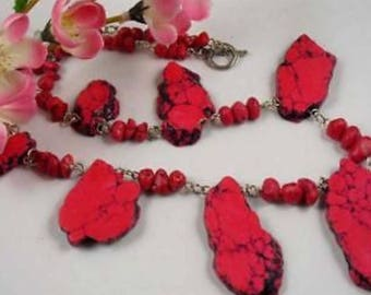 PINK TURQUOISE HOWLITE crystal necklace 18""