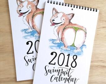 2018 Swimsuit Animals Wall Calendar