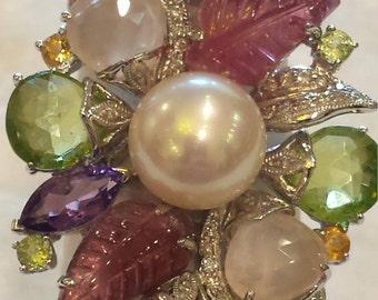 18 k white gold cultured pearl multi stone ring