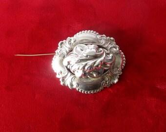 Vintage Sterling Silver Large Brooch