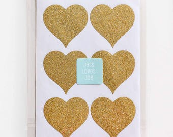 24 Gold Glitter Love Heart Stickers