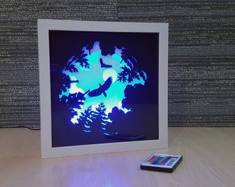 Paper Cut Light Box Art / Handmade Paper Silhouette Shadowbox / Multi Colored LED Remote / Night Light For Home / Forest View as Eagles Soar