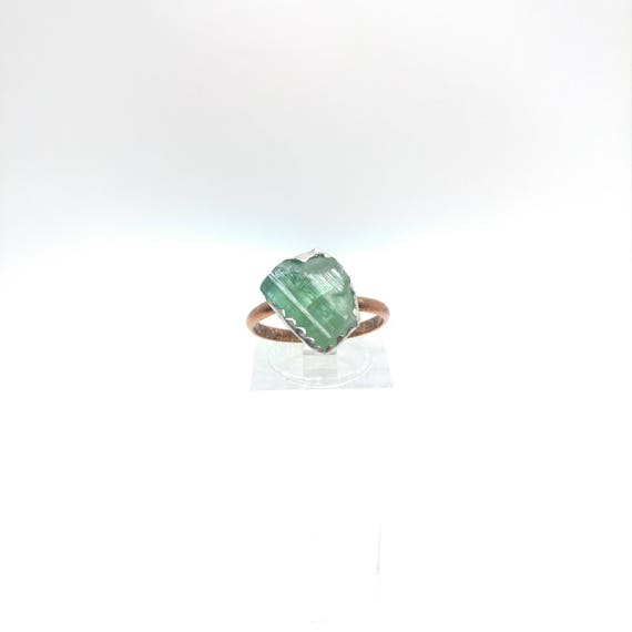 Raw Tourmaline Ring | Raw Crystal Ring | Mixed Metal Ring Sz 7 | Rough Tourmaline | Green Tourmaline Crystal | Post Apocalyptic Clothing