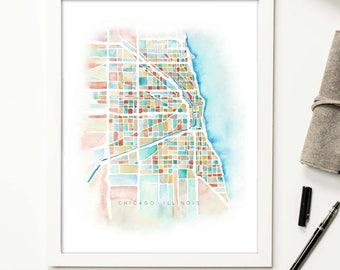 Chicago Illinois Watercolor Map Print