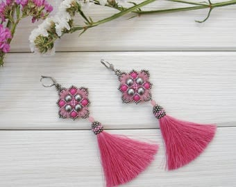 Pink tassel earrings, romantic tender grey fringe boho gypsy earring, Exclusive handmade summer jewelry, long statement earrings, OOAK