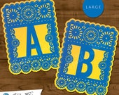 Large Blue & Yellow Papel Picado  :  Printable Banner All Letters 0-9 numbers