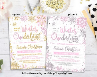WINTER ONEDERLAND INVITATION, Pink Silver First Birthday Invitation, 1st Pink and Gold Invite, Girl Snowflake Invitation Winter WonderlandW1