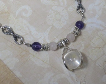 Clear Quartz sphere necklace with Amethyst and Rose Quartz beads CCS183