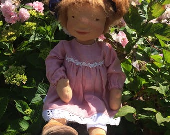 """Ruby - 18"""" OOAK - by Little Doll House. Cloth doll. Waldorf inspired doll. Steiner doll.Natural Fiber art doll. sculptured doll"""