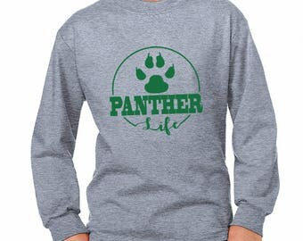 Youth Panther Life Long-Sleeve Shirt - School Spirit - Panthers - Unisex Long Sleeve Gray Tee