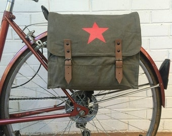 25% OFF Vintage Olive Drab Green Military Surplus Style Messenger Bag Bicycle Pannier with Star Logo