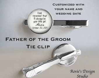 FATHER of the BRIDE Tie Clip - Wedding Tie Clip - Photo Tie Clip - Cuff Links - Father of the bride gift - Always be your little girl